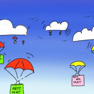 Nettbutikker med melkefri mat - illustrasjon som viser mat som faller ned fra skyene
